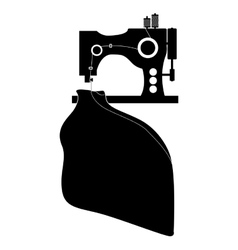 Monochrome silhouette sewing machine and cloth vector