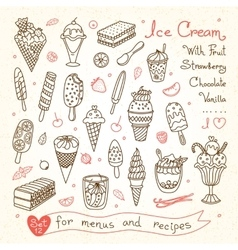 Set drawings of ice cream for design menus vector image