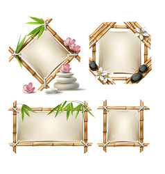 set of bamboo frames vector image vector image