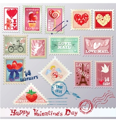 Set of vintage post stamps vector image vector image
