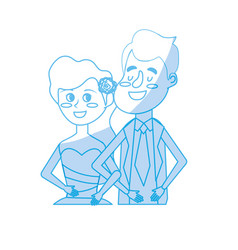 Silhouette happy couple together and romantic vector
