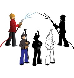 Silhouettes of firefighters and steelmaker options vector