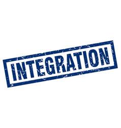 Square grunge blue integration stamp vector