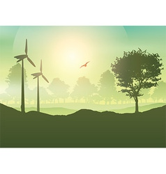 Wind turbines and tree landscape vector