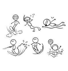 Doodle designs of different outdoor activities vector
