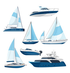 Set of boats with sails one and double decked vector