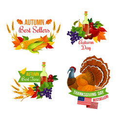 Thanksgiving sale icon of autumn season holiday vector