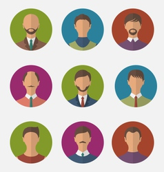 Set colorful male faces circle icons trendy flat vector