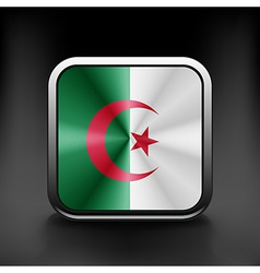 Algeria flag square glossy button vector