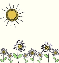 Flower field card vector