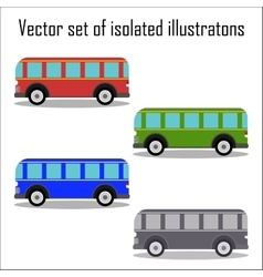 Set of retro city buses on a white background vector