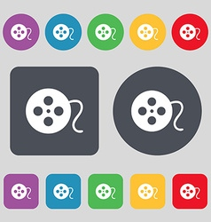 Film icon sign a set of 12 colored buttons flat vector