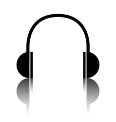 Headphones black icon vector