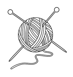 Yarn ball and needles vector