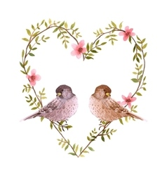 Watercolor birds and heart of flowers vector