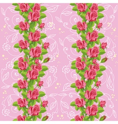 Seamless roses soft pink vector