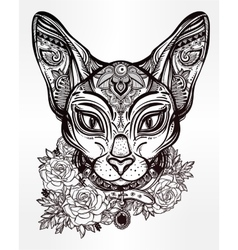 Vintage ornate cat head with floral collar vector