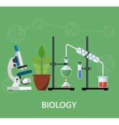 Biology laboratory workspace vector
