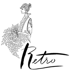 Uncolored beautiful fashion woman vintage style vector