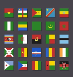Africa flag icon set Metro style vector image