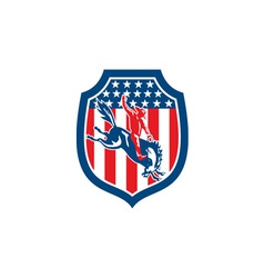 American rodeo cowboy riding bronco shield retro vector