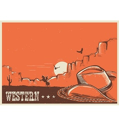 American western poster with cowboy hat and lasso vector