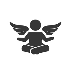 Angel silhouette logo man with wings sign vector