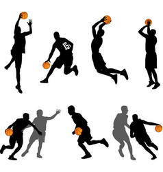 basketball players silhouettes collection vector image vector image