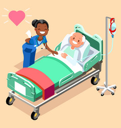 Black nurse or family doctor at male patient bed vector