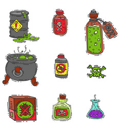 Bottle with potion game magic glass elixir vector