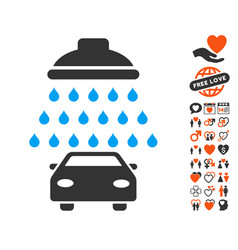 Car shower icon with lovely bonus vector