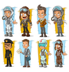 Cartoon cool pilot and postman character set vector