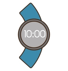 Cartoon digital smart watch time screen vector
