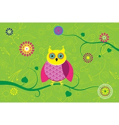 Creative owl sitting on branch with flower pattern vector image vector image