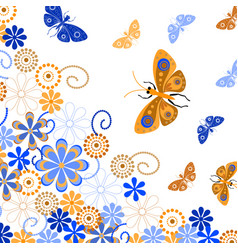 decorative background with butterflies and flowers vector image vector image