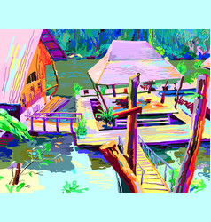digital painting of asia landscape river in vector image