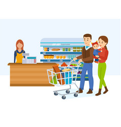 Family walking around store and takes fresh food vector