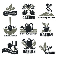 gardening service and garden plants vecotr icons vector image vector image