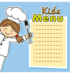 Girl chef card vector
