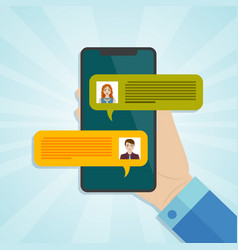 hand holding smartphone with chat messages vector image vector image