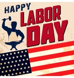 Happy labor day card template Flag of USA on vector image