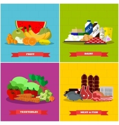 Healthy food poster in flat style design vector