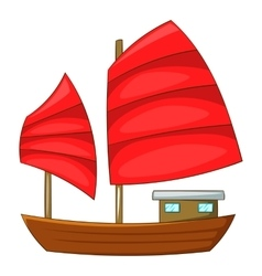 Junk boat with red sails icon cartoon style vector