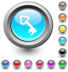 Key round button vector image vector image