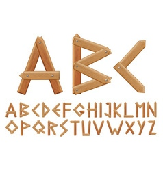 Letter made from wooden boards for your design vector image vector image