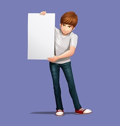 Man holding empty banner vector image