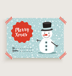 Merry christmas retro snowman card template vector