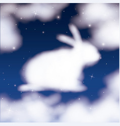 Nightly background with cloud in shape of bunny in vector