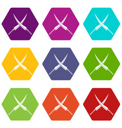 Samurai swords icon set color hexahedron vector