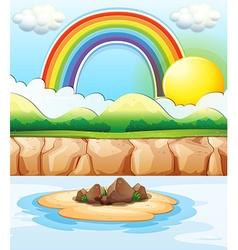 Scene with rainbow at sea vector